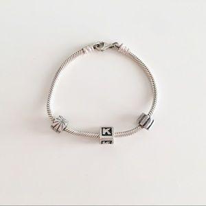 Pandora Silver Charm Bracelet K initial